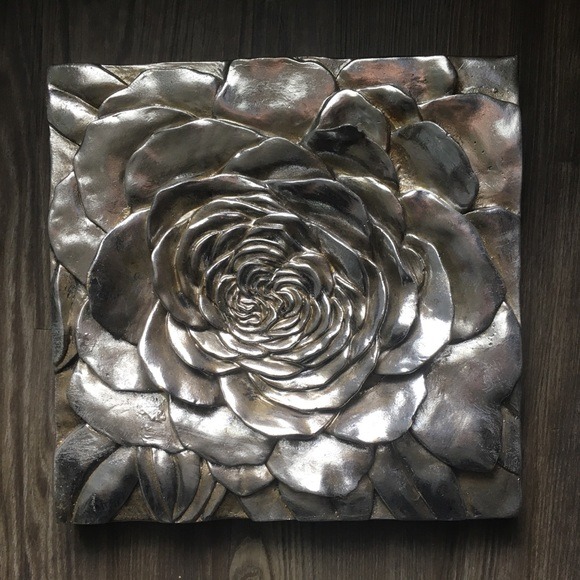 Z Gallerie , silver rose wall decor NWT